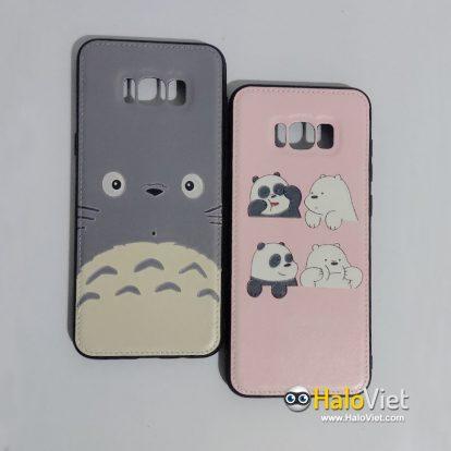 Ốp lưng da khâu viền in hình cho Samsung Galaxy S8 Plus - 1
