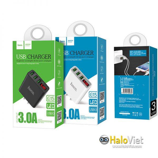 Sạc nhanh 3 cổng USB Hoco C15 - 7